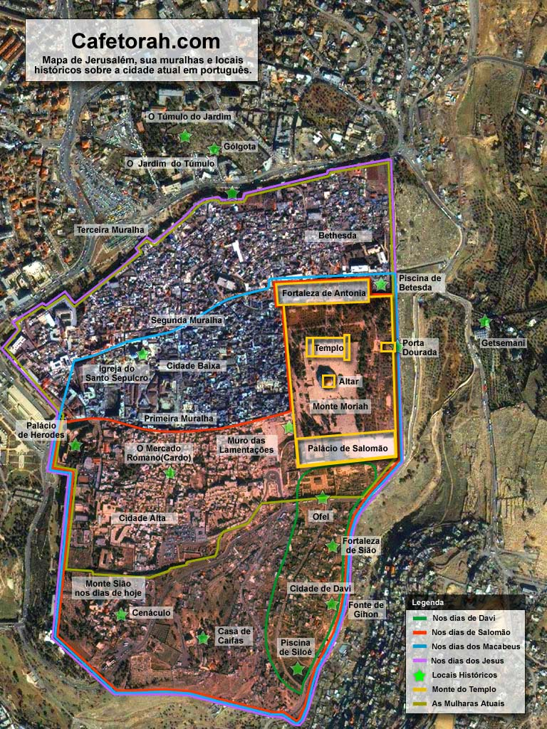 mapa de jerusalem Mapa de Jerusalém, a Cidade Santa através dos tempos   Cafetorah  mapa de jerusalem
