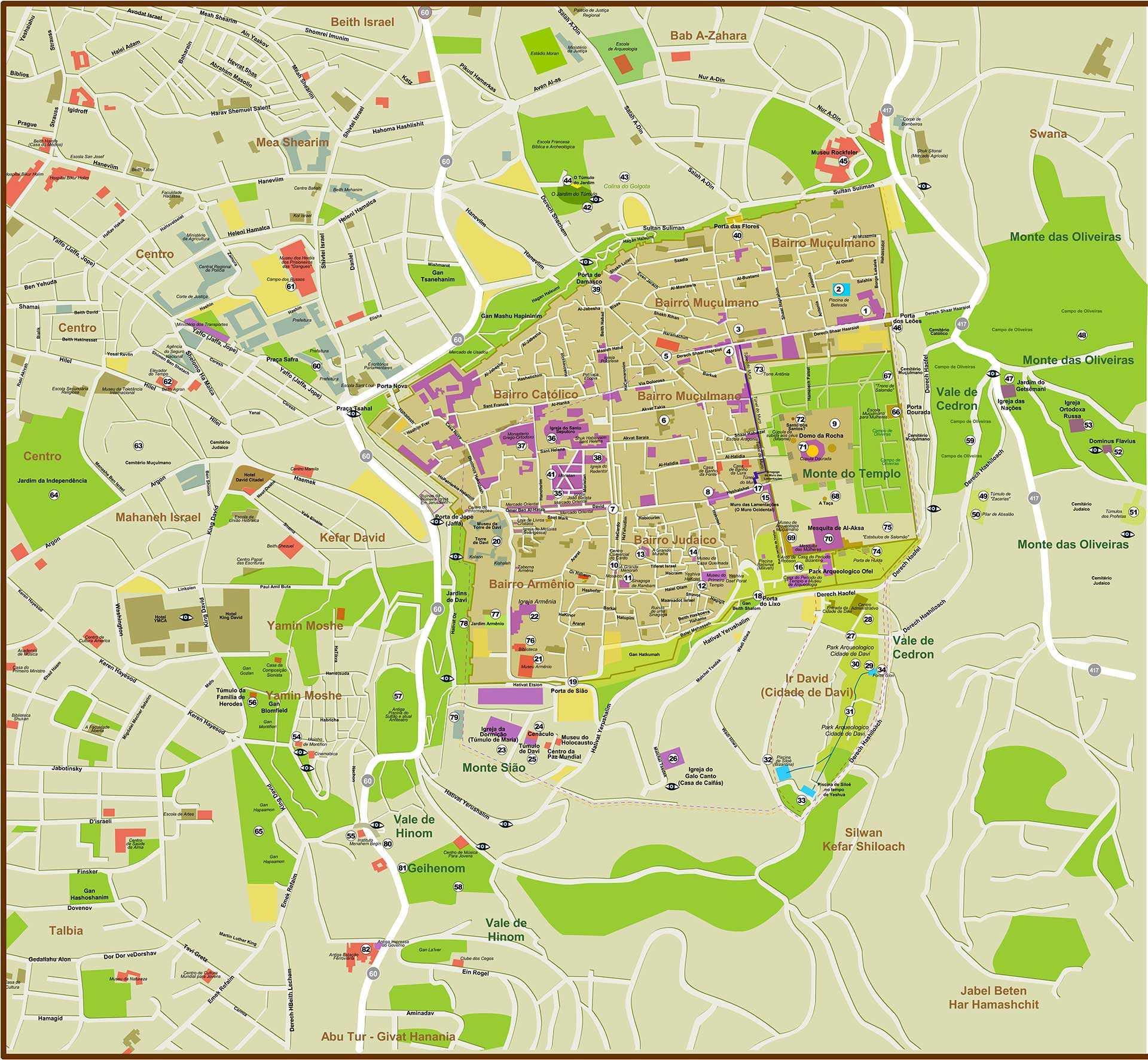 mapa jerusalem Grande Mapa de Jerusalém para impressão.   Cafetorah   Notícias de  mapa jerusalem